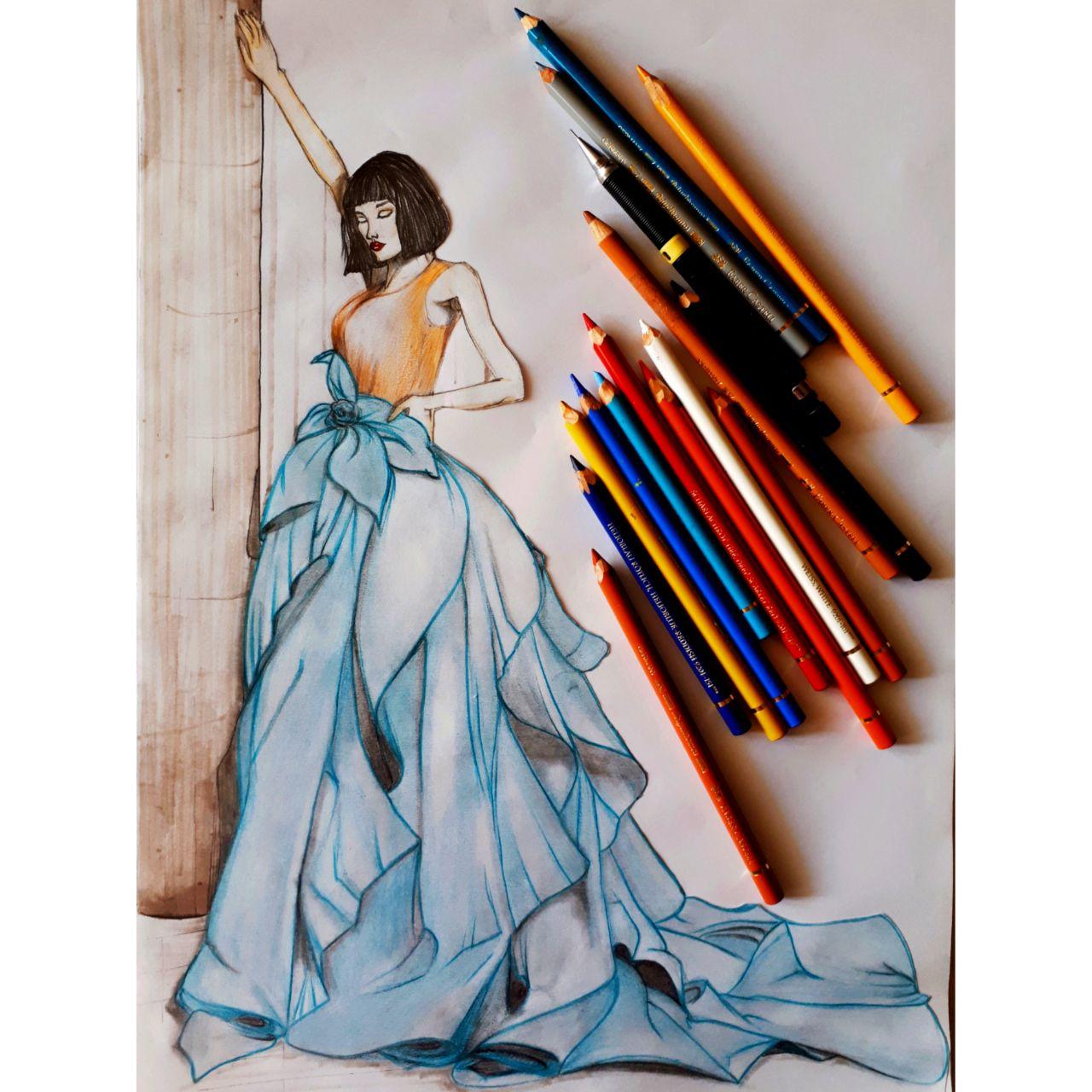 آموزشگاه پیشکسوتان - محدثه کریمی -لباس مجلسی مداد رنگی