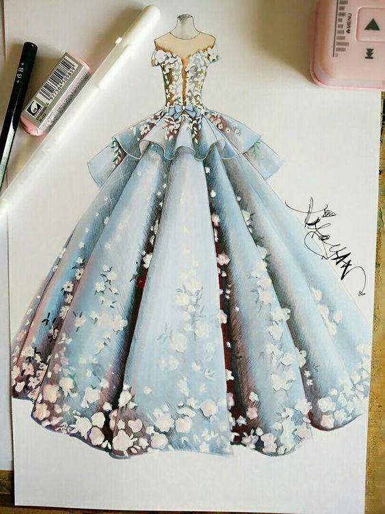 آموزش طراحی لباس عروس - آموزشگاه پیشکسوتان - طراحی با قلم و مداد نمونه کار