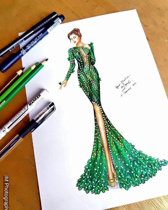 آموزش طراحی لباس با مداد رنگی - آموزشگاه پیشکسوتان