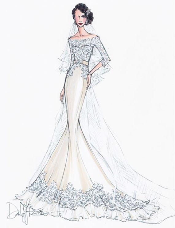 معمولا در طراحی لباس عروس از رنگ های طوسی روشن، طوسی یخی، زرد کمرنگ و بنفش استفاده می شود.