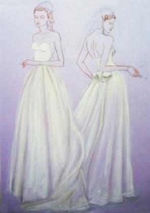 سایه ی یاسی رنگ موجود در پس زمینه ی این کاغذ می تواند در ایجاد سایه ها در سراسر لباس عروس بسیار کمک کند.