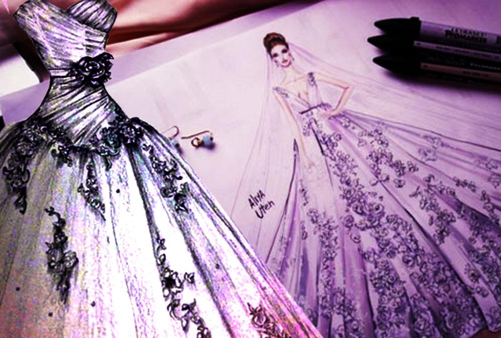 pishkesvatan-پیشکسوتان - طراحی لباس عروس با مداد