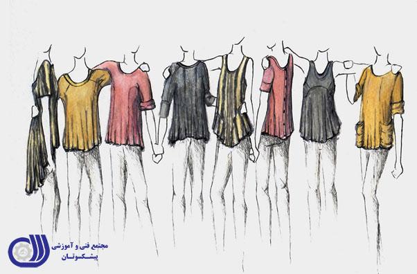 طراحی لباس با مداد رنگی - پیشکسوتان